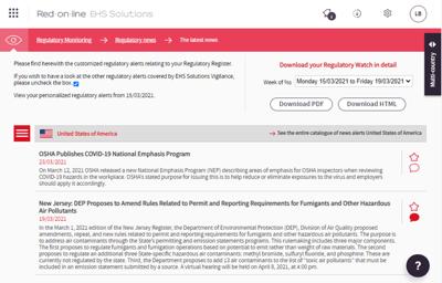 Avec Red-on-line vous être informé hebdomadairement des changements règlementaires qui vous concerne. Votre veille est personnalisée et actualisée